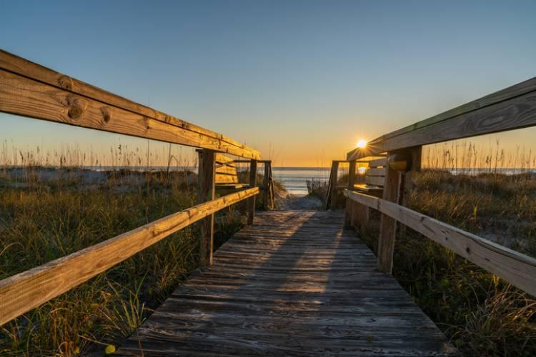 A boardwalk down to the beach